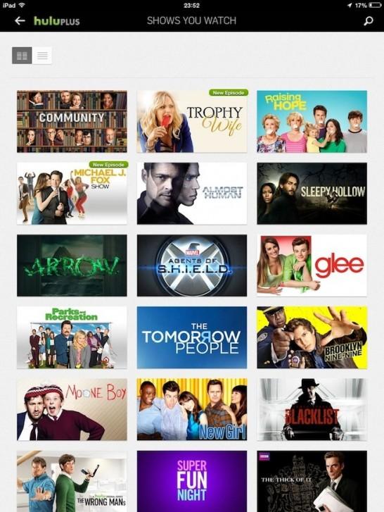 """HuluPlus na iPadu. Iritantno je da čim pogledate i jedan clip neke serije, doda vam ju na """"shows you watch"""" listu."""
